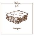lasagna pasta sketch icon for italian vector image