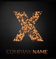 letter x logo gold dots alphabet logotype vector image vector image