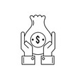 line businessman with bag cash money and hands up vector image
