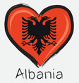 love albania flag vector image vector image