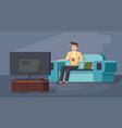 Man enjoying tv watching sitting on couch