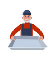 man with tray vector image