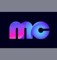 mc m c spink blue gradient alphabet letter vector image vector image