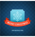 Merry Christmas postcard ribbons and snowflake vector image vector image