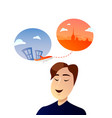 office worker man character dreaming about vector image vector image