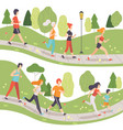 people running in park set young men and women vector image