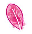 pink watercolor leaf paint art vector image