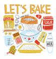 recipe design with baking essentials cookbook vector image
