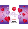 red and violet hearts in paper art on gradient vector image vector image