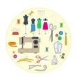 Round concept sewing equipment vector image vector image
