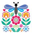scandinavian folk art style flowers design vector image vector image