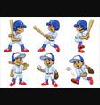 set cartoon white boy baseball player vector image vector image