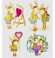 set funny hare vector image
