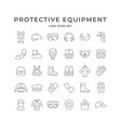 set line icons personal protective equipment vector image