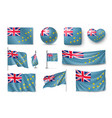 set tuvalu realistic flags banners banners vector image vector image