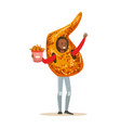 Smiling man wearing fried chicken wing costume vector image
