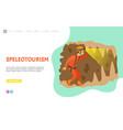 speleotourism man in cave with flashlight web vector image