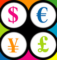 The currency signs of Dollar Euro Pound and Yen vector image vector image