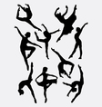 Traditional and modern dance silhouette vector image vector image