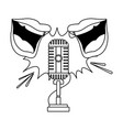 two mouths speaking to retro microphone icon flat vector image vector image
