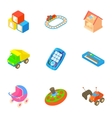 Types of toys icons set cartoon style vector image
