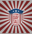 vintage shield with veterans day sale text vector image