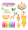 Vitamins symbols emblems and icons for design vector image vector image