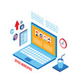 workplace isometric elements set successful vector image