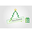 Christmas card with tree star and gift vector image