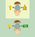 businessman creates money from the idea vector image