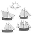 Set of old sailing ships vector image