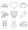 9 line art black and white romantic food elements vector image