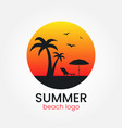 beach logo design sunset and palm trees round vector image