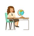 beautiful girl character in school uniform sitting vector image vector image