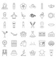 beauty salon icons set outline style vector image vector image