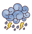 blue cloud lightning raindrops cartoon image vector image vector image