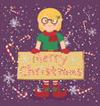 board candy cane christmas elf glasses girl vector image