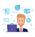 businessman with social media marketing icons vector image vector image