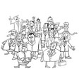 businessmen group black and white cartoon vector image