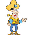Cartoon cowboy pointing vector image