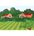 cartoon village houses with green field and trees vector image vector image