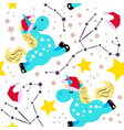 chrismas blue unicorn pattern vector image vector image