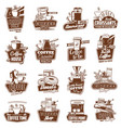coffee cups pot and espresso machine with dessert vector image vector image