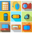 Collection modern flat icons computer technology vector image