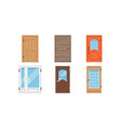 colored entrance door set interior design vector image vector image