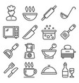 cooking and kitchen icons set on white background vector image