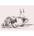 Cup of coffee croissant vintage retro hand drawn vector image vector image