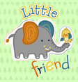 cute elephant and little bird on trees background vector image vector image