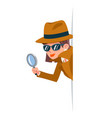 cute woman snoop detective magnifying glass tec vector image vector image