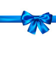decorative bow with horizontal blue ribbon blue vector image vector image